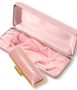 高級化粧箱と印鑑 ピンク